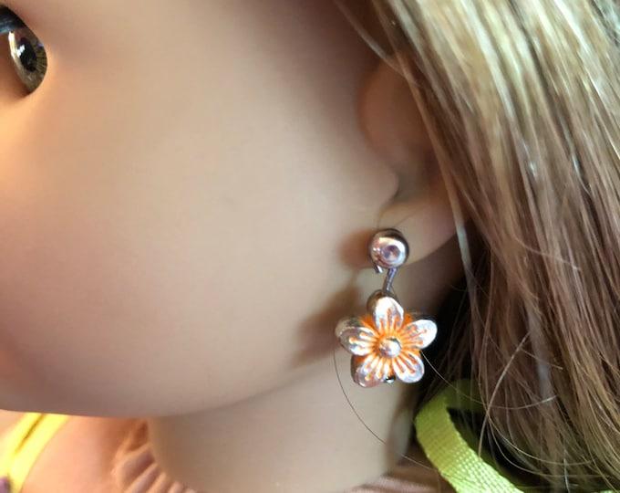Orange Flower Earring Dangles for 18 inch American Girl Doll Lea Clark Girl of the Year (Dangles Only)