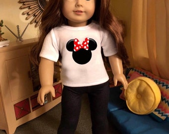 Mouse Ears Polka Dot Red Bow Doll Tshirt for American Girl Dolls