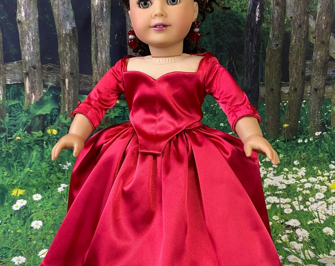 Outlander Inspired Claire Fraser Red  Dress for 18 inch American Girl Dolls (custom order 6-8 week turn around time)