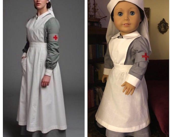 Downton Abby inspired Lady Sybil's Nurse's Uniform for American Girl Dolls (Custom Order)