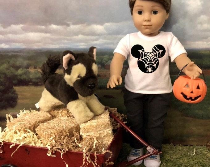 Halloween Mickey Spider Web Tshirt for 18 Inch American Girl Doll Logan