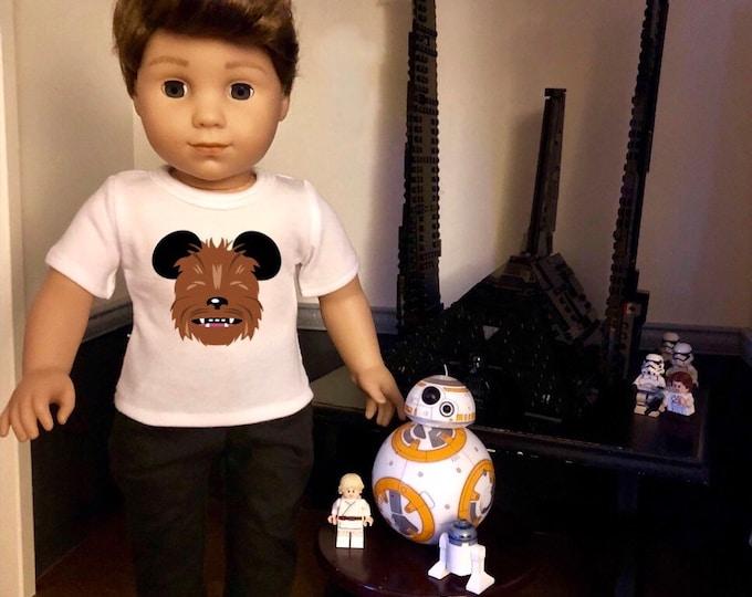 Mouse Ears Star Wars Chewbacca Doll Tshirt for American Girl Doll Logan