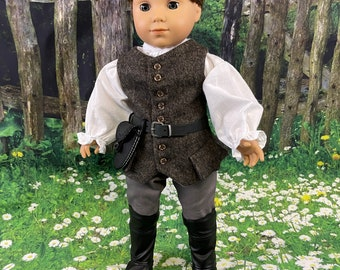 LAST ONE! Outlander inspired Jamie Fraser outfit & boots for 18 inch American Girl Dolls (6-8 week turn around)