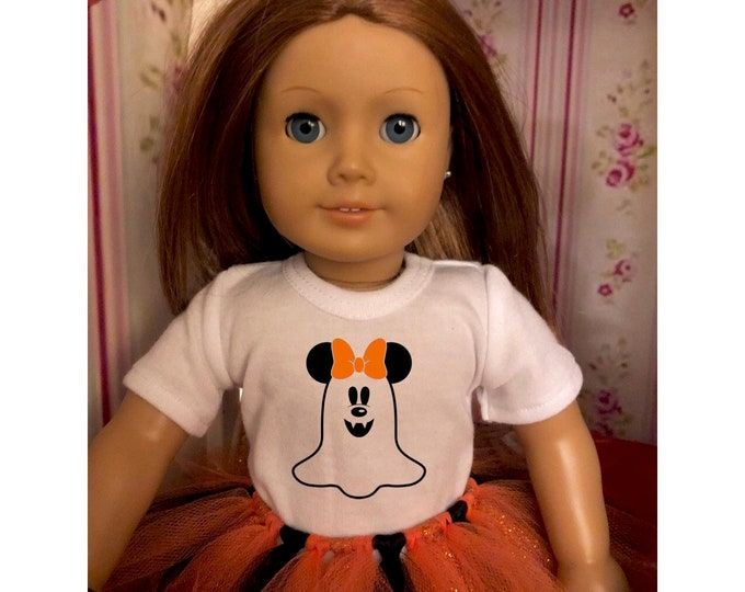 Mouse Ears Ghost Halloween Doll Tshirt for American Girl Dolls