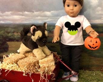 Halloween Mickey Frankenstein Tshirt for American Girl Logan