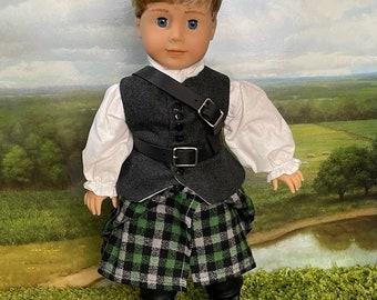 Outlander Inspired Jamie Fraser Kilt Outfit for American Girl Dolls (custom order 6-8 week turn around time)