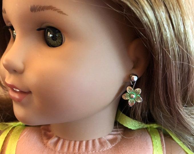 Green Flower Earring Dangles for 18 inch American Girl Doll Lea Clark Girl of the Year (Dangles Only)