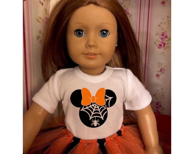 Mouse Ears Spiderweb Halloween Doll Tshirt for American Girl Dolls