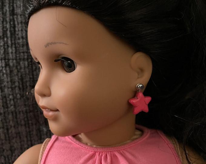 Fuchsia Star Earring Dangles for 18 inch American Girl Dolls (Dangles Only)