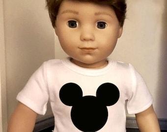 Mouse Ears Doll Tshirt for 18 inch American Girl Doll Logan