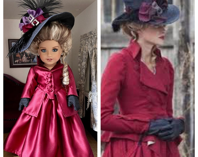 Ready To Ship: Caroline Penvenen Inslired Colonial Era riding costume & hat for 18 inch American Girl Dolls