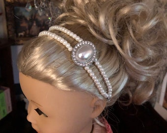 Pearl Double Strand Headband with a pearl Embellishment for American Girl 18 inch Dolls
