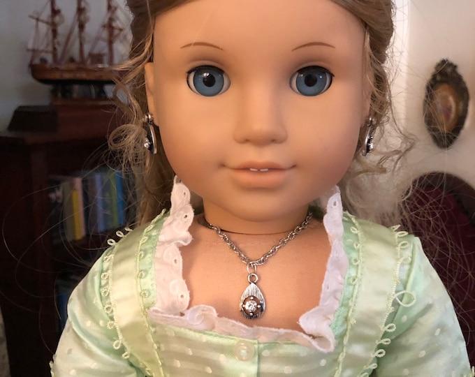 Silver Diamond Tear Drop Pendant Necklace for American Girl Elizabeth