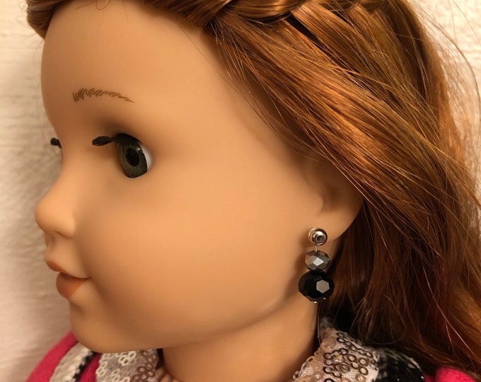 Black and Silver Bead Earring Dangles for 18 inch American Girl Dolls (Dangles Only)