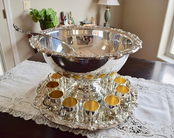 F.B. Rogers Silverplated 15-piece Punch Bowl Set