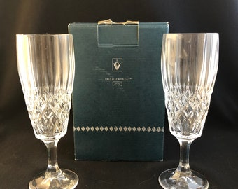 "Royal Irish Crystal Champagne Flutes ""Megan"" in Box, Vintage from the 1970s"