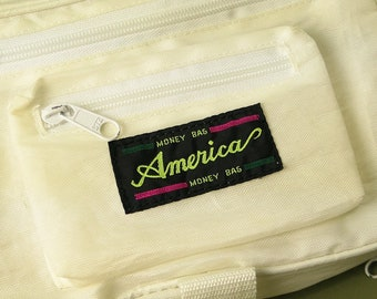 Vintage 90s MONEY BAG AMERICA Waist Bag ⋆ Logo Sling Zip Up Fanny Pack Clout Pouch ⋆ Outdoor Travel Accessories ⋆ Streetwear Fashion