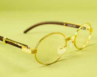 a54be82a7ea Clear Oval Wooden Frame Glasses Gold-Filled Plated Vintage Inspired Hip Hop  Fashion Designer Non-Prescription Eyeglasses Eyewear Accessories