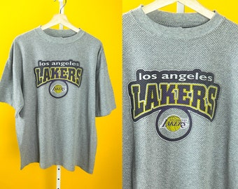 Vintage PRO EDGE Gray Los Angeles Lakers Jersey T Shirt ⋆ Classic Old School Retro Hip Hop Streetwear Training Workout Tops