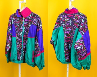 90s Colorblock Windbreaker Jacket M-L CASUAL ISLE Rare Electric Abstract Doodle Print Multicolor Teal Purple Pink Hip Hop Street Lightweight