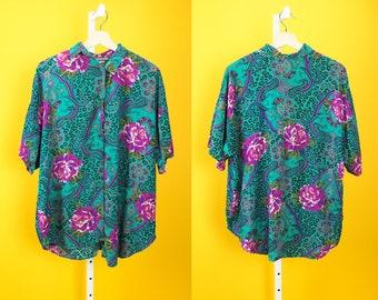 CALI KRUSH Silky Button Up w/ Floral & Leopard Print Sz M-L Teal/Pink/Purple Hip Hop High Fashion Streetwear Summer Dress Tops Dress Shirt