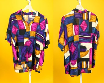 80s Abstract Multicolor Silky Top CALICHÉ L XL Bold Geometric Print Colorful Modern Art Retro Button-Up Vintage Streetwear Hip Hop Fashion