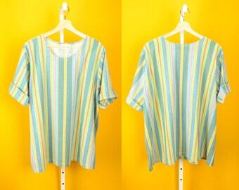 Vertical Striped Shirt Sz L Multicolor Rainbow Pastel NATIONAL Vintage Top Hip Hop Fashion Streetwear Hippie Psych Tribal Festival Colorful