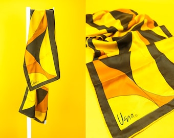 Vintage 70s Silky Scarf USNA VERA NEUMANN ⋆ Rectangle Oblong Scarf Wraps Bandanas Headscarf Accessories Groovy Japanese Retro Street Fashion