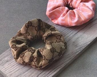GUCCI Fabric Scrunchie ⋆ Authentic Fabric Brown Beige Classic Logo Womens Designer Hair Accessories Spring Fashion 2018 GUCCI Scrunchie