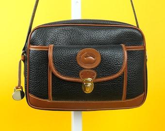 Vintage DOONEY & BOURKE Crossbody Messenger Shoulder Bag w Built-In Wallet Card Holder ⋆ All Weather Leather AWL ⋆ Women's Handbags Purses