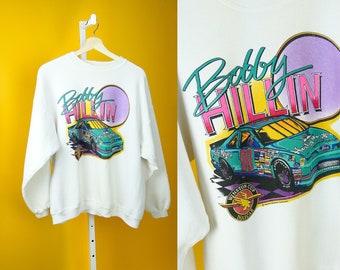 BOBBY HILLIN NASCAR Winston Cup '93 Retro Crewneck Sweatshirt Sz M-L Race Car Racing Graphic Print 90s Vintage Streetwear