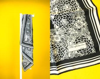 Vintage 80s Japanese Silky Designer Scarf ⋆ Black & Silver Square Bandana Headscarf Wraps ⋆ Retro High Fashion Streetwear Accessories