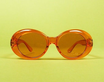 41e394eca3 OVAL SHADES ⋆ Clear Orange Frame Orange Tinted Lens Oversized Thick  Sunglasses ⋆ Retro Inspired Kurt Cobain Hip Hop Clout Goggles Eyewear