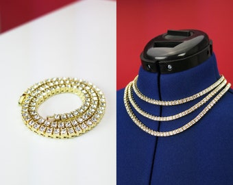 """You Choose ⋆ CZ Diamond Choker Chain Necklace Gold 16"""" 18"""" 20"""" 18K Gold Plated 1 row 5mm Cubic Zirconia Hip Hop Accessories"""