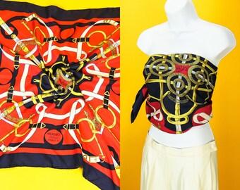 HERMES SCARF Golden Spur Authentic Vintage Hermes 100% Silk High Fashion Streetwear Designer Accessories Bandana Blue Red Gold Buckle Sword