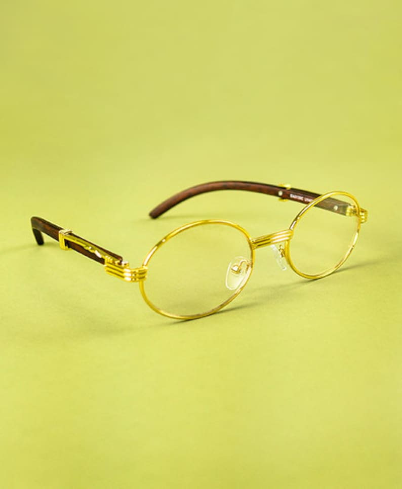 872fa3ad614 Clear Oval Wooden Frame Glasses Gold-Filled Plated Vintage