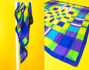 Vintage ECHO Multicolor 100% Silk Scarf ⋆ Square Scarves Wraps Bandanas Headscarf Women's Hair Accessories ⋆ Japanese Retro Street Fashion