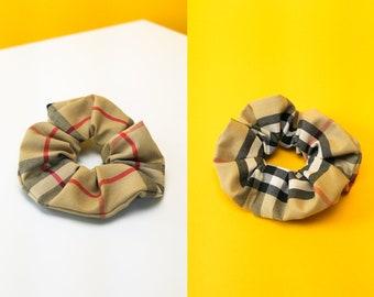 NEW! BURBERRY Fabric Scrunchie (Thin/Medium-Thick Short-Mid Length Half-Up Hairstyles) Handmade Genuine Designer Accessories Plaid Scrunchie
