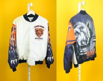 Vintage 90s CHALK LINE Chicago Bears Fanimation Satin Jacket ⋆ NFL Football Sports Team Logo Outerwear ⋆ Tricolor Orange Navy White ⋆ Sz L