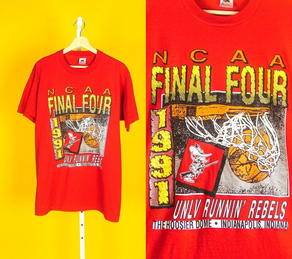1991 NCAA Final Four Tee Sz L UNLV Runnin Rebels Basketball