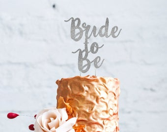 Bride to Be Cake Topper - Glitter Silver Hen Party Swirly Cake Topper