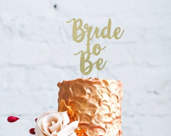 Bride to Be Cake Topper - Glitter Gold Hen Party Swirly Cake Topper
