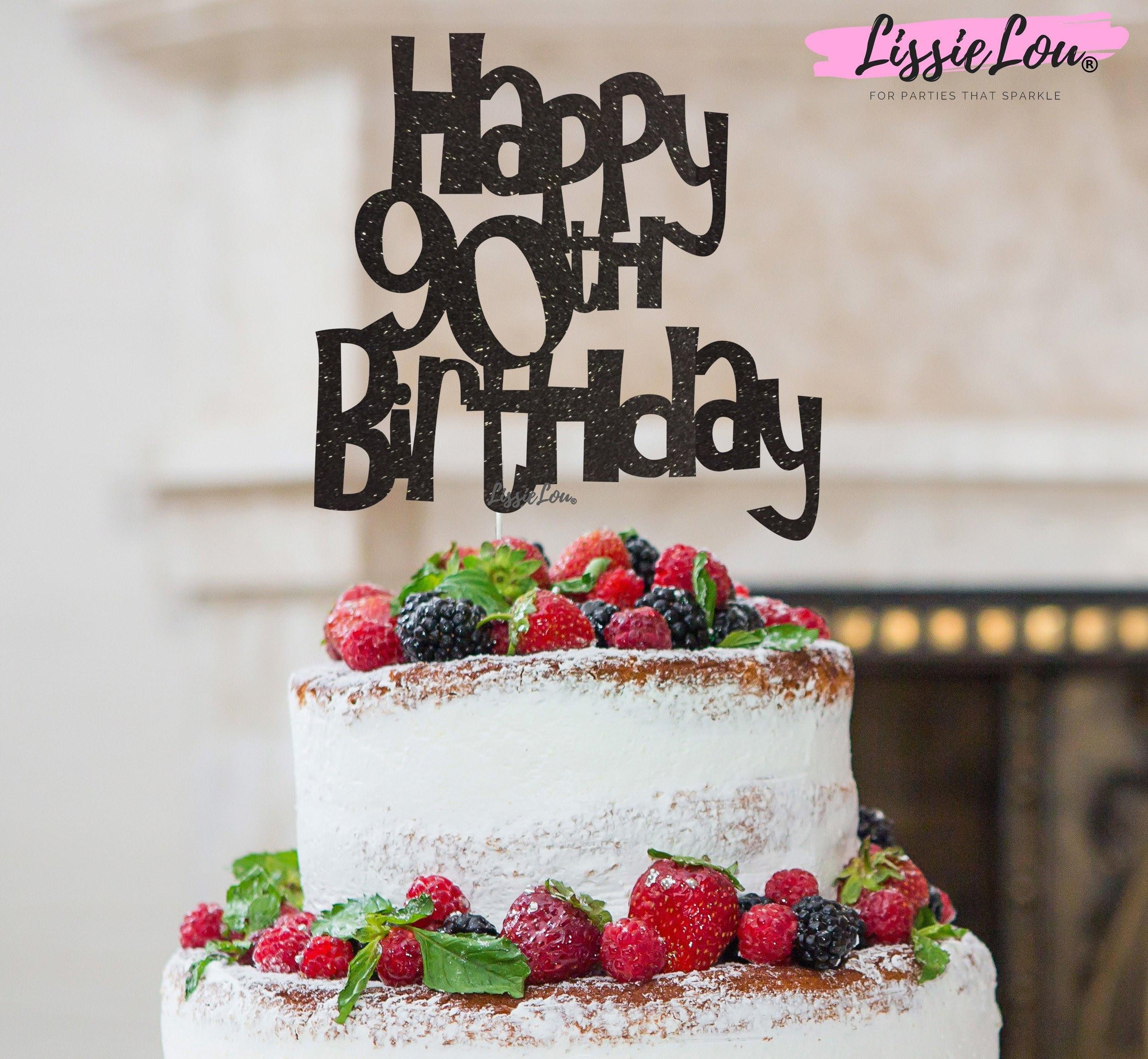 Happy 90th Birthday Cake Topper Glitter Card