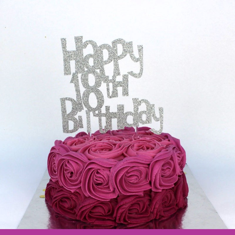 Happy 18th Birthday Cake Topper Silver Glittery