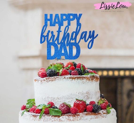 Peachy Happy Birthday Dad Cake Topper Glitter Card Etsy Personalised Birthday Cards Veneteletsinfo