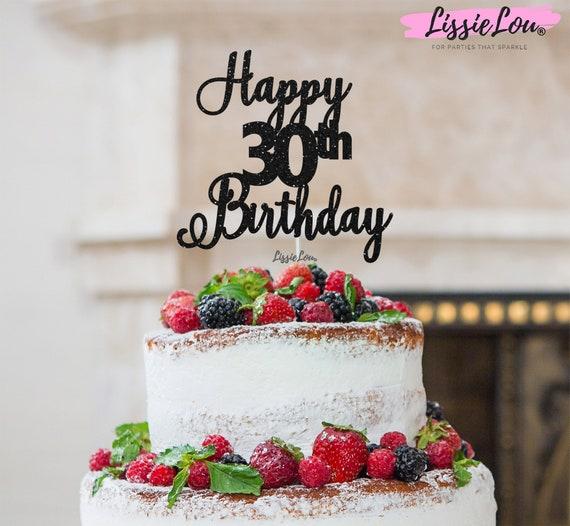 Happy 30th Birthday Glitter Cake Topper Thirty Birthday