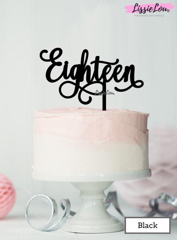 Eighteen Acrylic Birthday Cake Topper Black