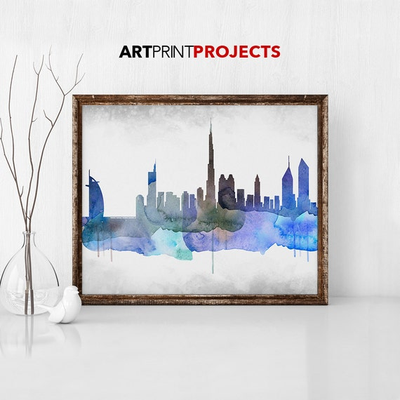 Dubai watercolor Skyline Dubai UAE Cityscape Abstract art   Etsy