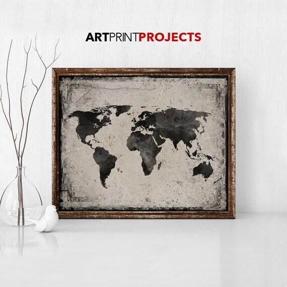 World map art print poster vintage style world map black gumiabroncs Choice Image