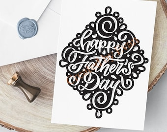 Father's Day Card - Black and White Lettering - A4 Digital Printout